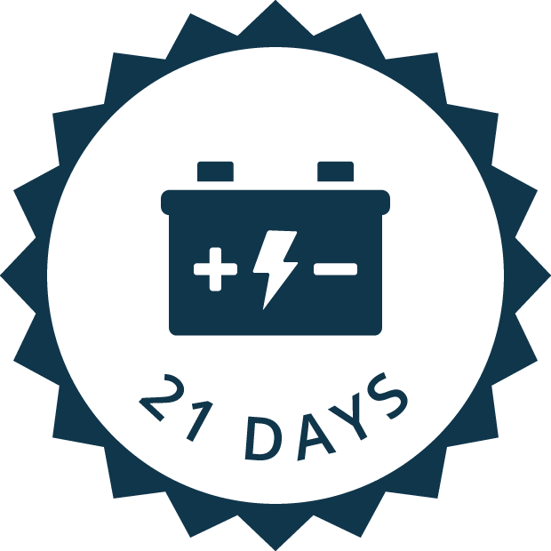 21 day battery life icon