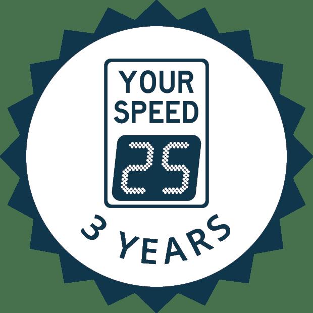 3 year radar sign warranty icon