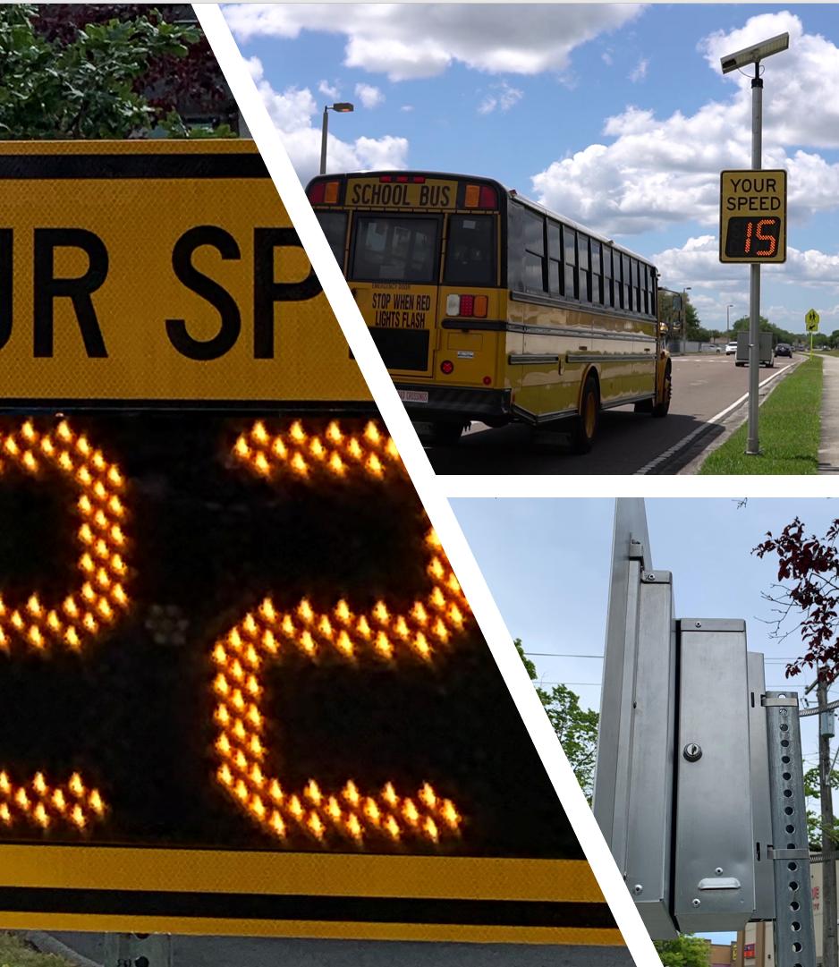 Carmanah SpeedCheck radar speed sign collage