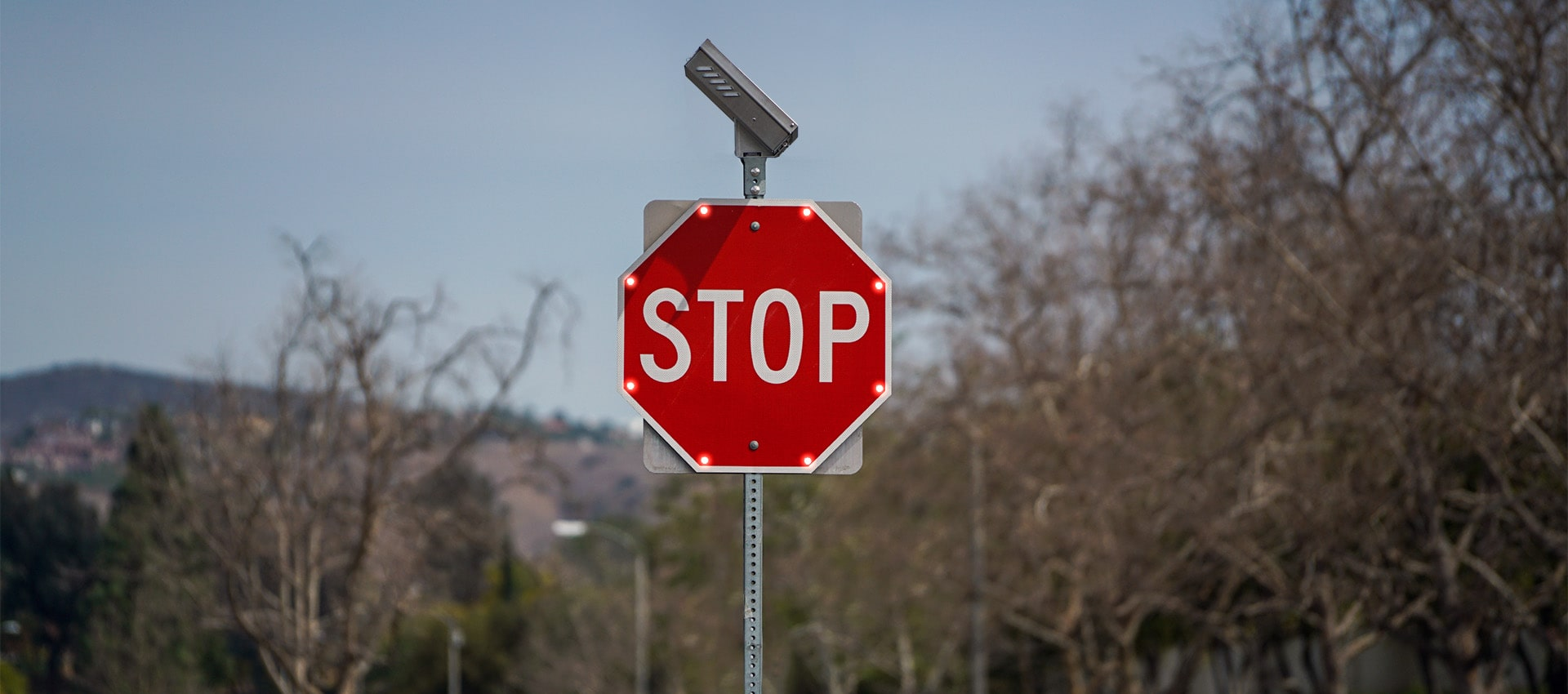 led enhanced signs on stop sign