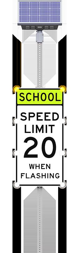 led school zone sign flashing