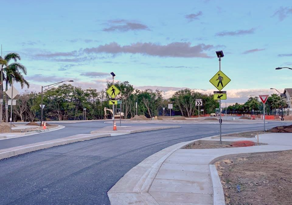 New roundabout with flashing beacons brings pedestrian safety to Maui