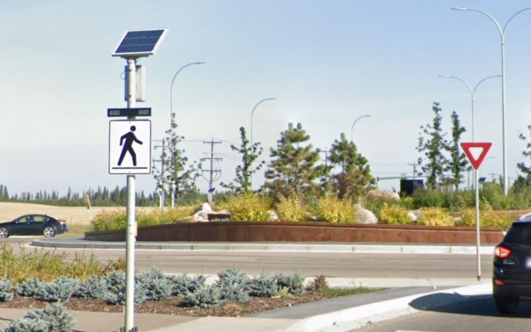 Flashing beacons bring pedestrian safety to roundabouts in Red Deer, Canada