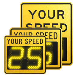 speedcheck-12 yellow static signs