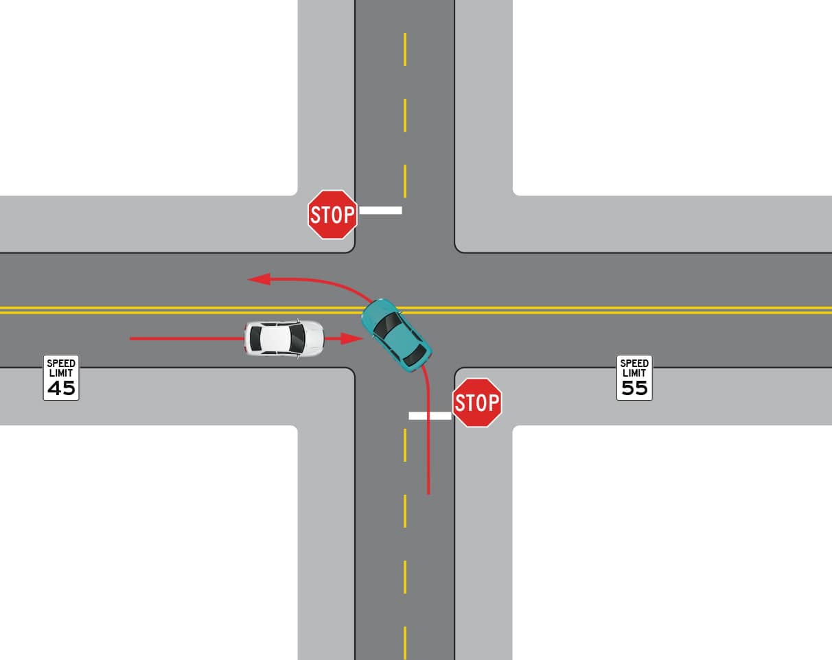 two-way intersection before led-enhanced stop signs