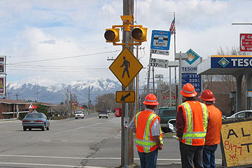 Carmanah's R247C R820C solar-powered LED pedestrian crossing beacons installed by the Utah Department of Transportation