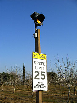 Carmanah's R829C solar-powered school zone flashing beacon installed in Stanislaus County, CA.