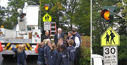 Unveiling of Carmanah's R829 solar LED school zone flasher at Glenlyon Norfolk School.