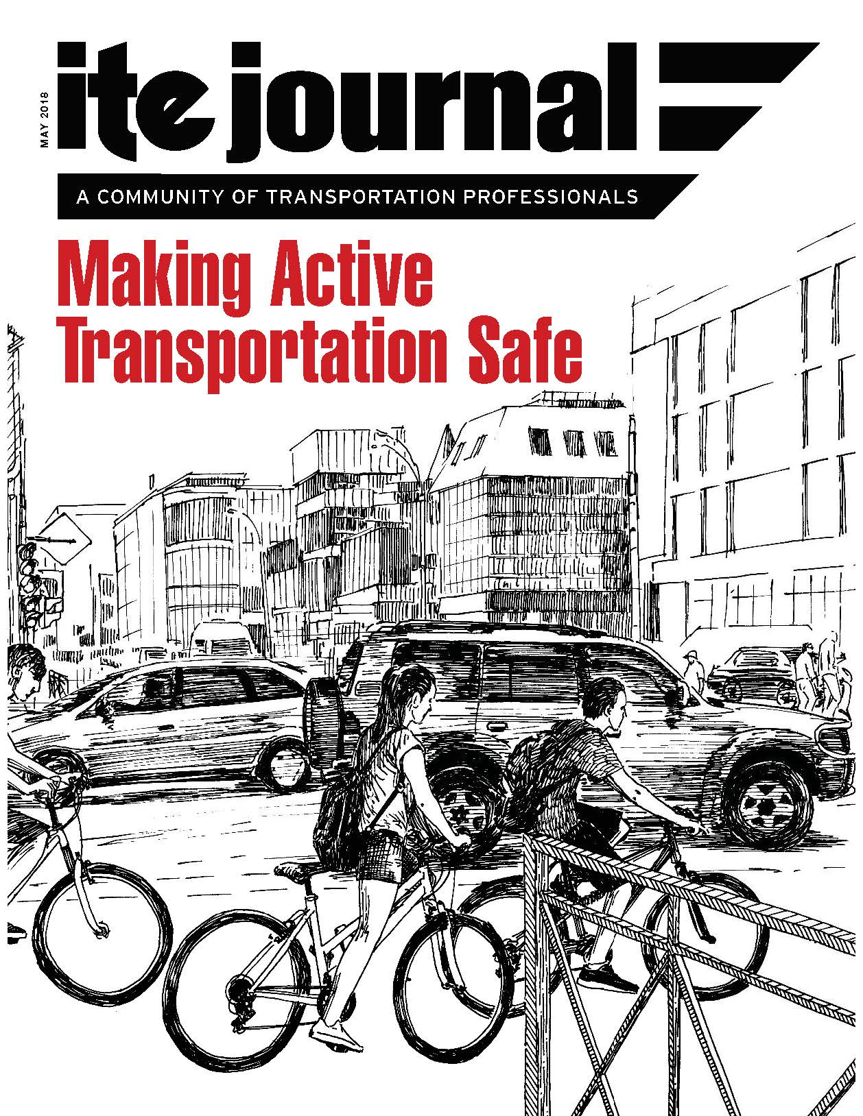 May 2018 ITE Journal cover, showing the headline Making Active Transportation Safe