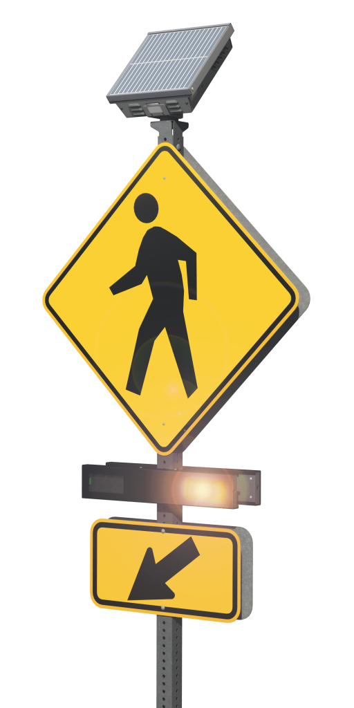 Product rendering of a traffic beacon flashing yellow with a crosswalk sign on a pole