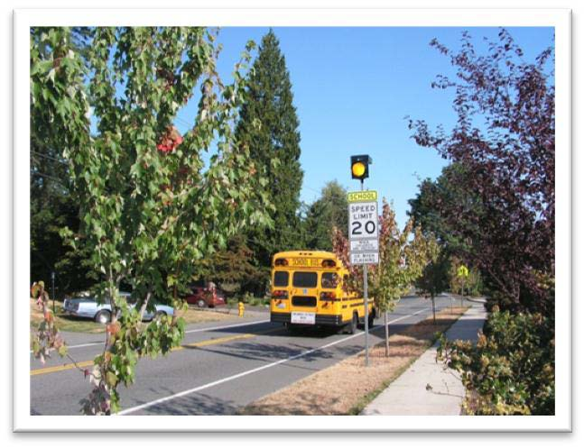 Rapid flashing beacon in school zone