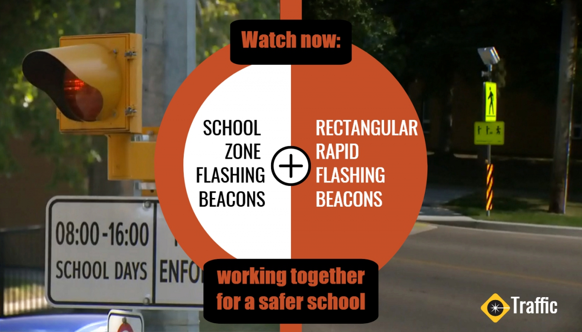 Graphic showing School zone flashing beacons and rectangular rapid flashing beacons. Text saying Working together for a safer school