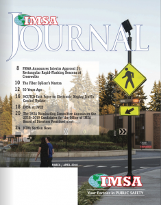 Cover of IMSA journal, March/April edition featuring FHWA announcement on RRFBs.