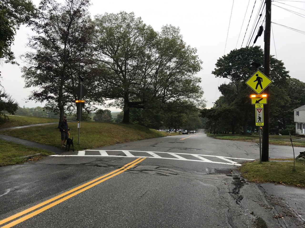 Westborough, MA, RRFB installation at a challenging crosswalk