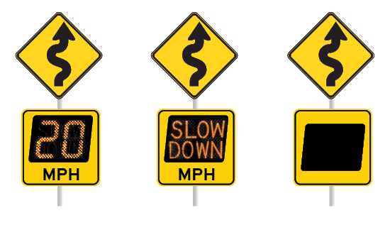 "3 roadway signs display digital advisory messages: 20 MPH, blank and ""Slow Down"""