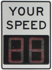 "competitor radar speed sign with ""ghosted"" digits, making it harder to read"