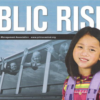 School girl and bus of children from the cover of Public Risk Magazine