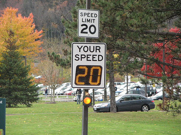 University campus Radar Speed Signs with flashing beacon