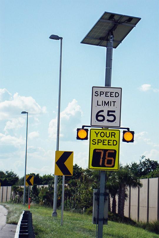 speedcheck radar speed sign on highway in miami, florida