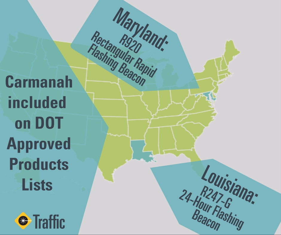 carmanah added to maryland and louisiana department of transportation approved product lists