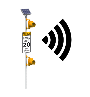 school zone beacon with wireless connectivity icon