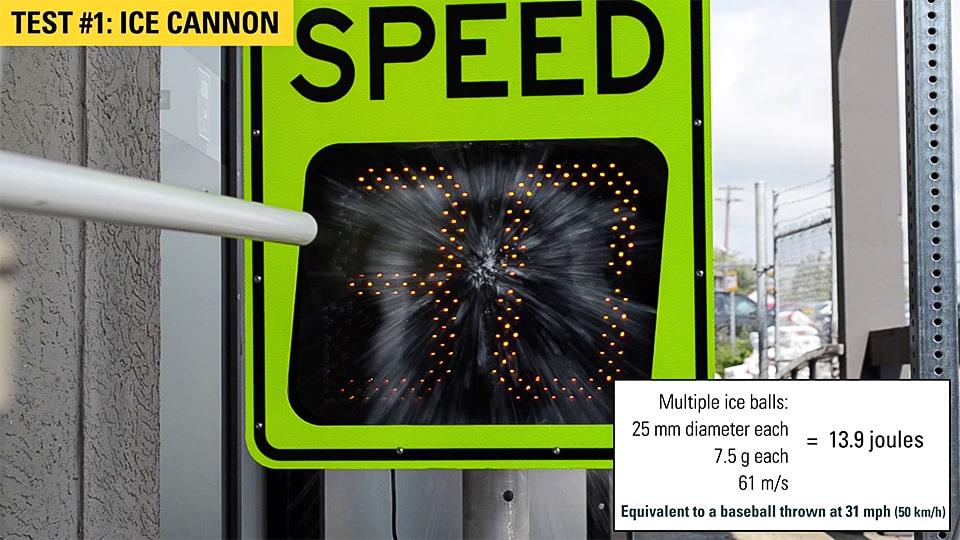 speedcheck radar speed sign ice cannon test