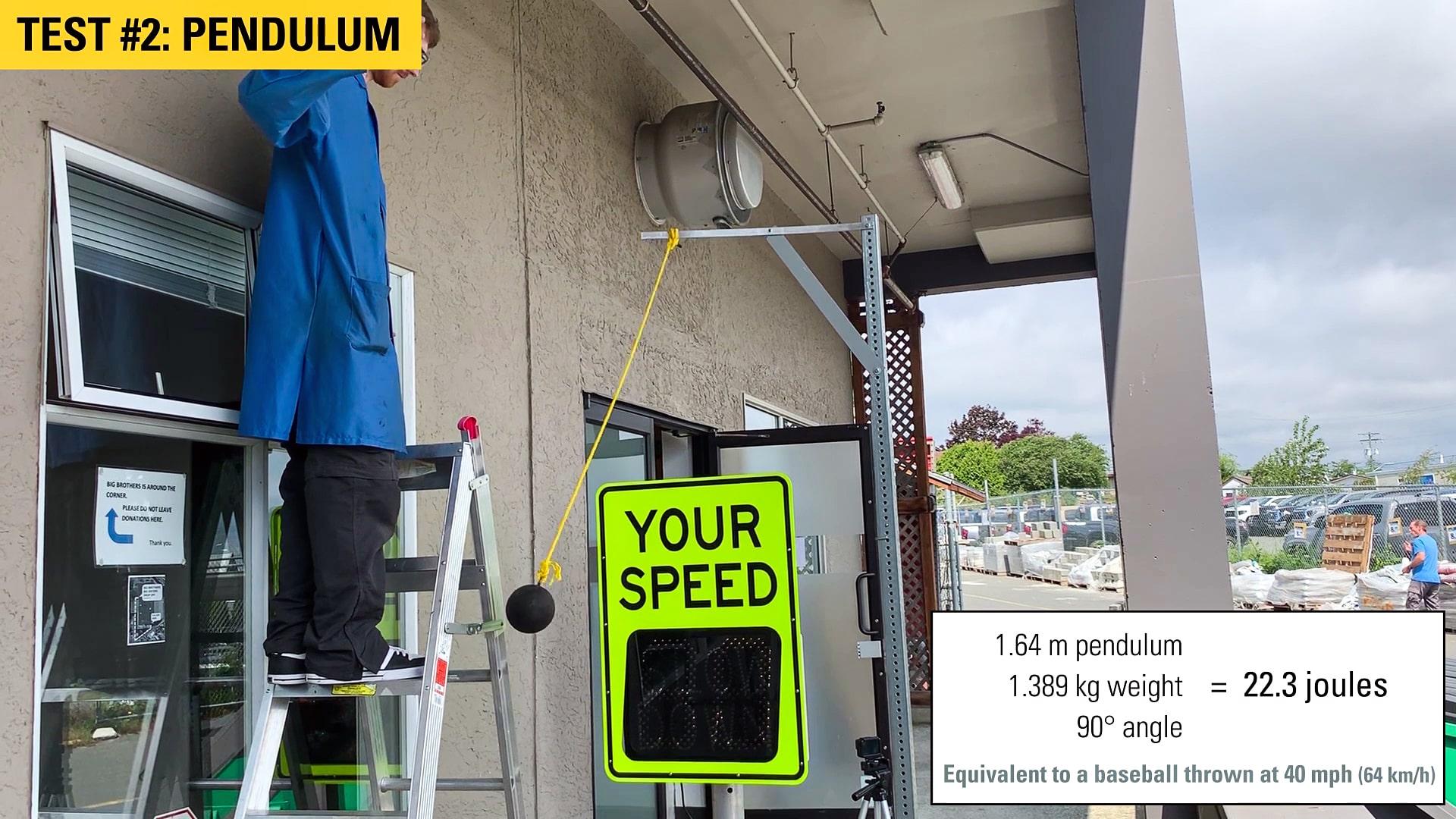 speedcheck radar speed sign pendulum test
