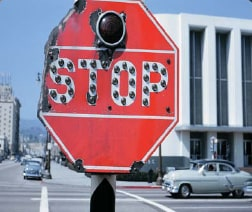 california red stop sign circa 1950