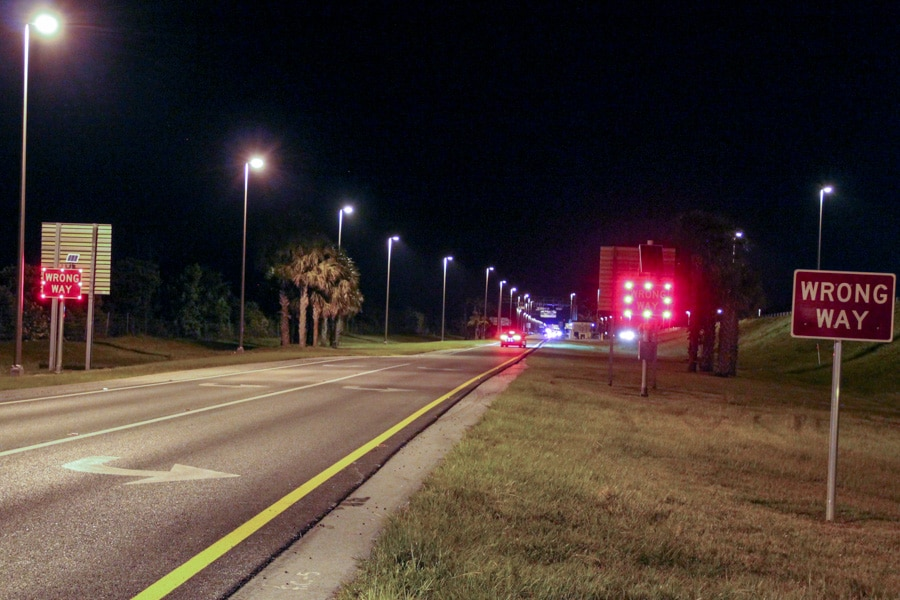 led-enhanced wrong way signs on Florida highway