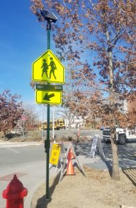 RRFB crosswalk sign outside AACT