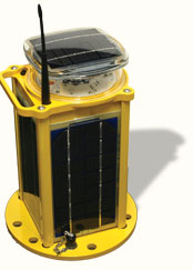 Carmanah's M704-5 solar LED airfield light with optional wireless control.