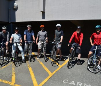 Bike to Work Week cyclists outside Carmanah bike locker