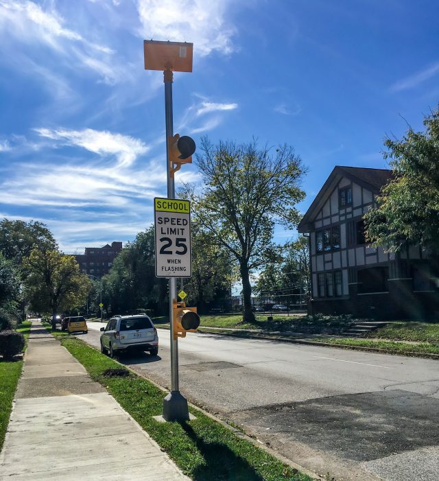 A solar-powered school zone beacon in Indianapolis, Indiana