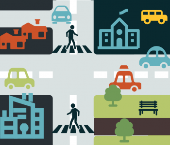 graphic illustration of a city with crosswalks, pathways, and schools