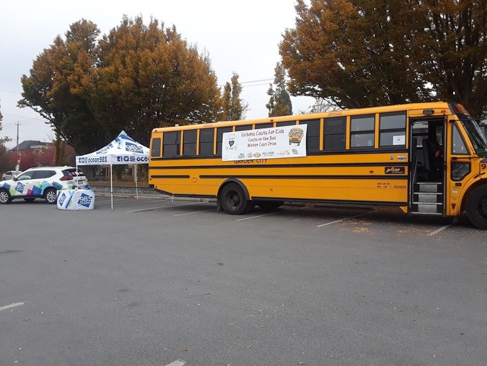 bus parked at mall for recent Coats for Kids winter coat drive