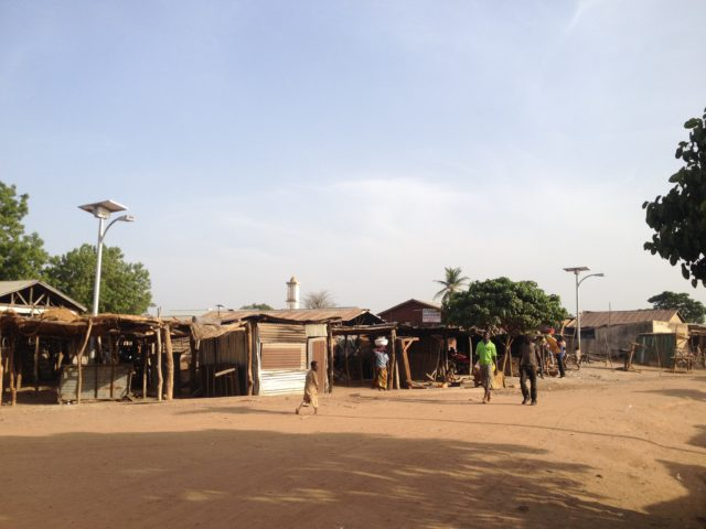 Solar street lights installed in Dunkassa, Benin.
