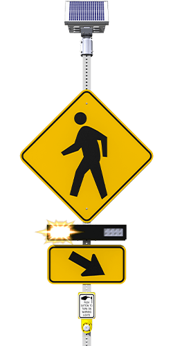 carmanah r920-e rectangular rapid flashing beacon (rrfb) flashing front view