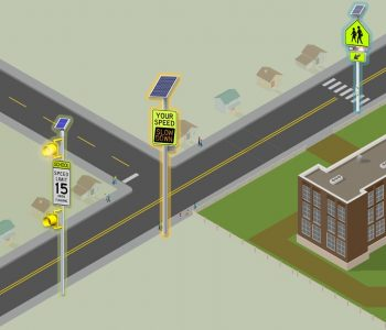 school zone with safety beacons and signs