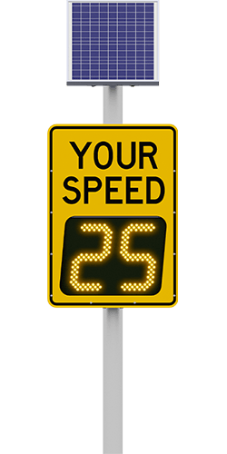 carmanah speedcheck-15 radar speed sign with your speed digits reading 25